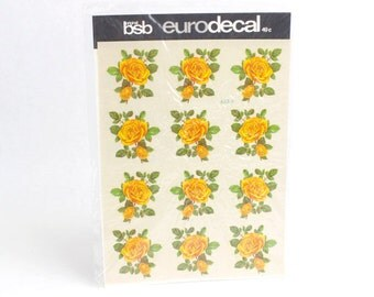 Vintage BSB Eurodecal Yellow Rose Floral Decals Transfers