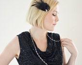 Vintage Jewel 1920s Feather Hair Clip - 1920s Hair clip Flapper - Black Feather Hairclip - Lillian