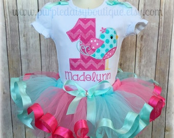 Pink and Blue Birdie Birthday Ribbon Trimmed Tutu Outfit - First Birthday Tutu Set - Second Birthday - Girls Personalized Birthday Outfit