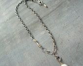 Artisan, Handmade, Sterling Silver, 14k Gold Fill, Mixed Metal, Pearl Necklace