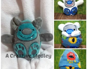Peekaboo Troll  In the Hoop Stuffed Softie - Reversible folds into an egg, ITH, IN The Hoop, Embroidery Design, Instant download