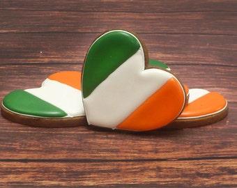 Decorated Cookies - Irish Flag - Hearts  - St Patrick's Day - 1 DOZEN