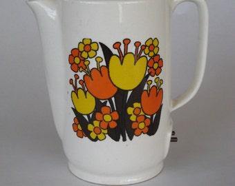 Travel Tea Pot Hot Water Warmer Japan Retro Flowers