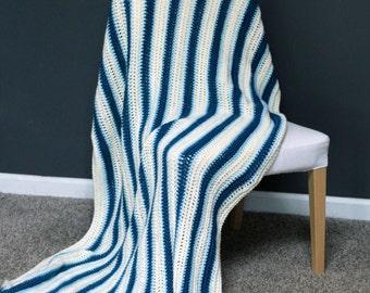 Striped Afghan Throw Blanket Modern Crochet - Vertical Off-White, Light Blue, Dark Blue - Ready To Ship