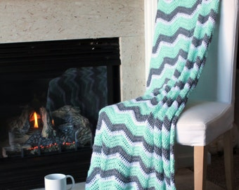 Chevron Afghan Throw Blanket Crochet - Mint Green, Light Grey, and White Chevron Afghan Striped Ripple Zig Zag - Made To Order