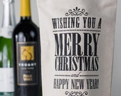 Wishing You A Merry Christmas Canvas Reusable Wine Bag
