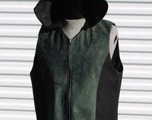 2XL Mens Cyberpunk Hooded Vest Hunters Green