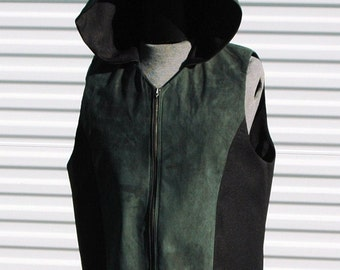 2XL Mens Cyberpunk Hooded Vest Hunters Green