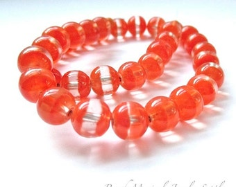 Bright Orange Beads. 8mm Beads. DIY Halloween Beads. Fall October Trends. Tangerine Beads. Clear Banded Silver Core Glass Beads - 25 pieces