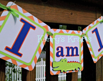 Alligator First Birthday Banner