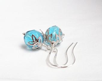 Ice blue earrings - snowflake earrings - silver snowflake - frost blue earrings - blue glass earrings - christmas earrings  festive earrings