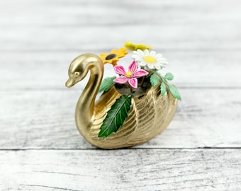 Vintage Miniature Swan w/ metal enamel flowers, gold plated.