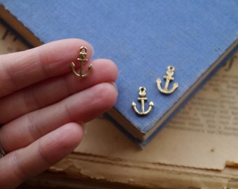 20 pcs Antique Gold Small Nautical Anchor Heart Charms 15mm (GC2407)