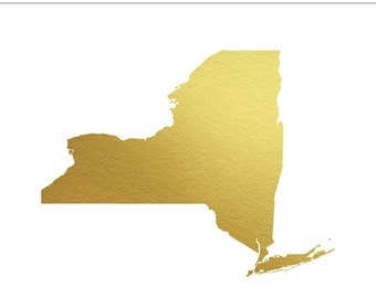 New York State Gold Foil Clip Art Personal & Commercial Use - INSTANT DOWNLOAD