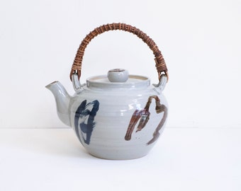 Japanese XL Ceramic Stoneware Vintage Oversize Bamboo Handle Medicine Pot Teapot