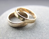 Wedding Ring Set: 9ct Yellow Gold Wedding Band Set, 4mm & 5mm, Shiny Finish, Custom Made To Fit
