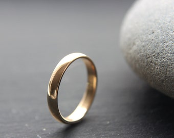 9ct Yellow Gold Wedding Ring, Womens Wedding Band, 3mm, D-profile, Shiny Finish, Made To Order