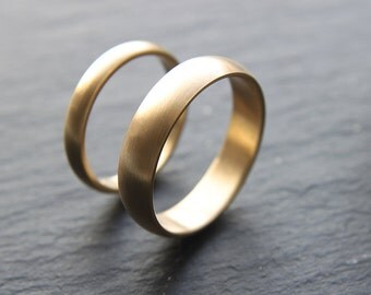Wedding Ring Set: 18ct Yellow Gold Wedding Band Set, 3mm Womens Ring, 5mm Mens Band, D-shape, Brushed Finish, Made To Order