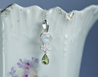 June birthstone, small rainbow flash moonstone pendant, natural moon stone and peridot petite pendant, sterling silver dainty pendant