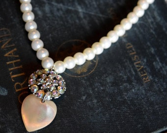 Victorian Necklace Imitation Pearl Necklace with Crystal and Heart Charm Victorian Choker Ivory Heart Pearl Choker Pearl Necklace Upcyled