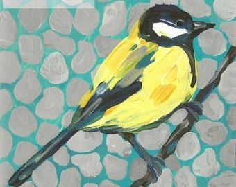 "Bird Art Yellow Gray Aqua PRINT of Painting by Tracy Hall 8"" x 8"" square"