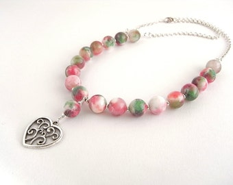 Pink Jade necklace with filigree heart pendant, Adjustable pink stone necklace, Spring jewellery, Gift for her, N0017
