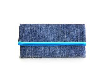 Womens Turquoise Denim Trifold Wallet, Womens Wallet, Vegan Wallet