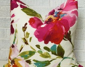 Floral Pillow Cover, Colourful Floral Pillow Cover, Fushia floral pillow, Colorful floral pillow, flower pillow