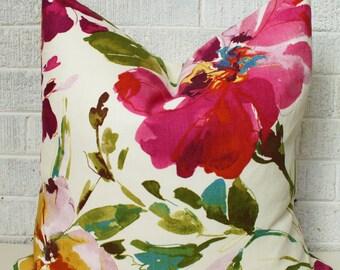Floral Pillow Cover, Colourful Floral Pillow Cover, Fushia floral pillow, Colorful floral pillow, flower pillow