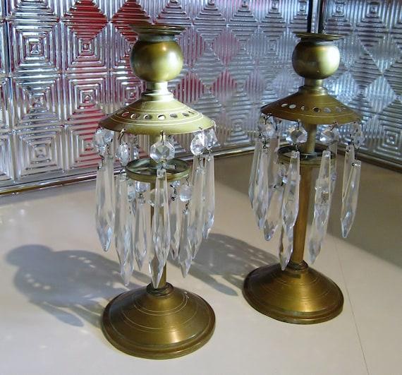 Vintage Brass Candle Holder Crystal Tear Drops Retro Candleholder Brass Hollywood Regency Mid Century Era