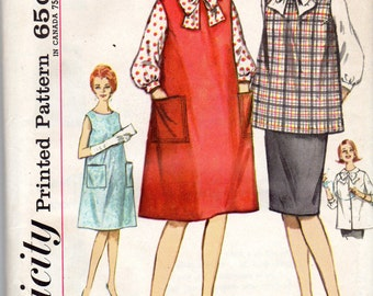 "1960s Maternity Skirt, Blouse, Top & Jumper or Dress Pattern - Size 14, Bust 34""- Simplicity 4641 -"