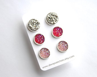 Mixed Size Faux Druzy Earring Set - Studs - Chunky Silver, Hot Pink, Light Pink LARGE 12mm, MEDIUM 10mm