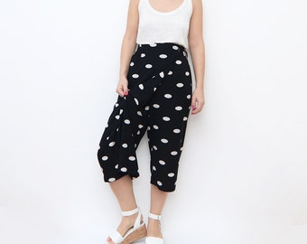 Vintage black culottes with white dots and waist belt i women 90s skirt pants palazzo polka dot
