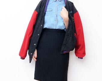 Vintage black wool pencil skirt / women clothing S M
