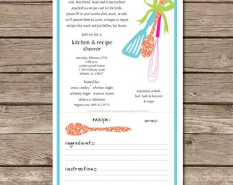 Kitchen Shower Invitation Recipe Card Engaged Wedding Love Bride Party Digital File Print Printable