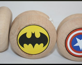 Superhero Yo-Yo's- Choose You Super Hero Design, Batman, Captain America, Flash, Spiderman, Iron Man, Superman