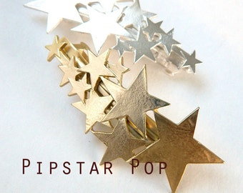 Gold Shooting Star Metal Barrette hair clip - Harajuku rocker style fashion hair accessories for party dress up and casual wear