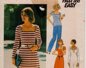 """Vintage 1970s Misses' Top, Dress & Pants Sewing Pattern For Knits Only, Butterick 4650, Size 10, Bust 32 1/2"""" (82.6cm), Free US Shipping"""