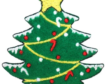 ID #8052 Festive Felt Christmas Tree Holiday Decoration Iron On Applique Patch