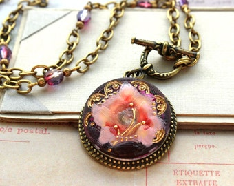 NEW**, Stunning Floral Czech Glass Necklace, Intricate design and color, Purple and Pink, Button Jewelry, Toggle Necklace by veryDonna