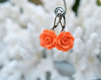 Orange Rose  Earrings, Orange Rose Flower Earrings, Fall Rose Earrings, Orange Bridesmaid Earrings