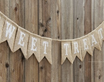 Sweet Treats Burlap and Lace Banner // Wedding Decor // Dessert Table