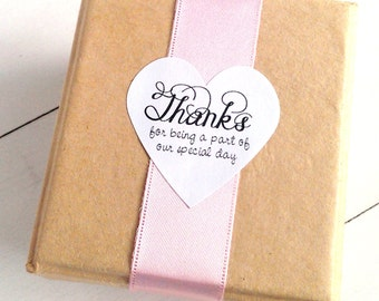 24 Thank you stickers - 1 1/2 inch heart sticker sheets - hand lettering stickers