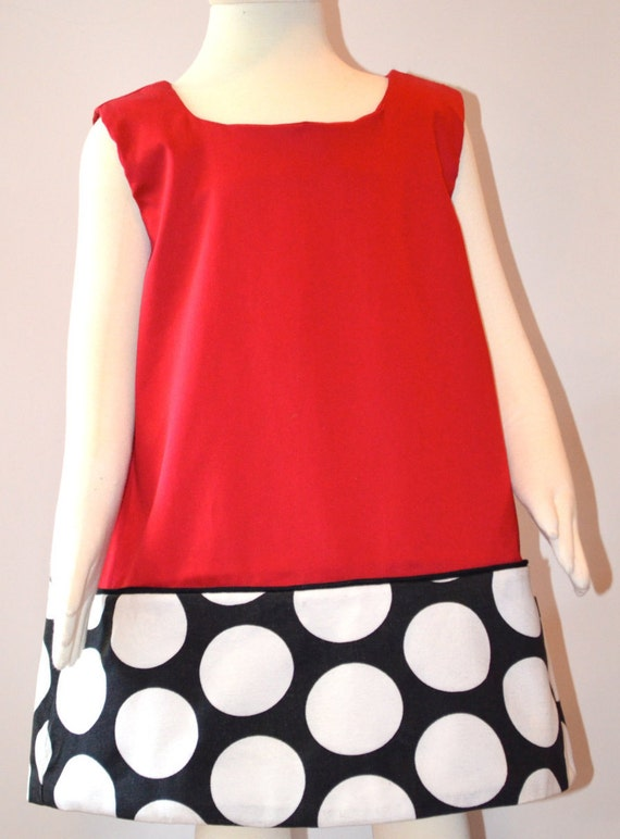 Girls Dress.  Girls Red, Black and White Dress.  Toddler Dress