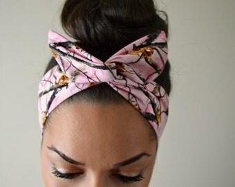 Pink Headband - Pink Real Tree Headband - Camo Dolly Bow, Camoflauge headband