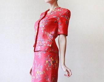 Red floral blouse / blazer pencil skirt set suit XS S