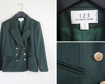 French vintage 1.2.3 UN DEUX TROIS green double breasted blazer jacket