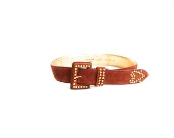 Vintage 1980's Brown Suede Belt // Gold Studded Heart Belt // Bedazzled Anne Klein Belt