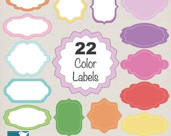 Pastel Labels, 22 Color Frames Digital Clipart - Scrapbooking card design, invitations, paper crafts, web design - INSTANT DOWNLOAD