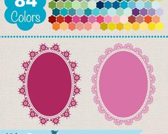 Oval Lace Frames, Colorful Lace Frames, Rainbow Lace Labels Clip Art, Huge Clipart Pack - INSTANT DOWNLOADO